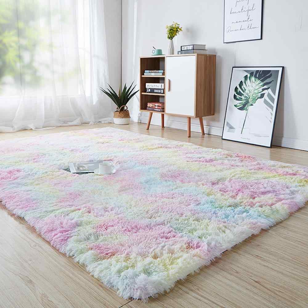 nuetral rainbow rug